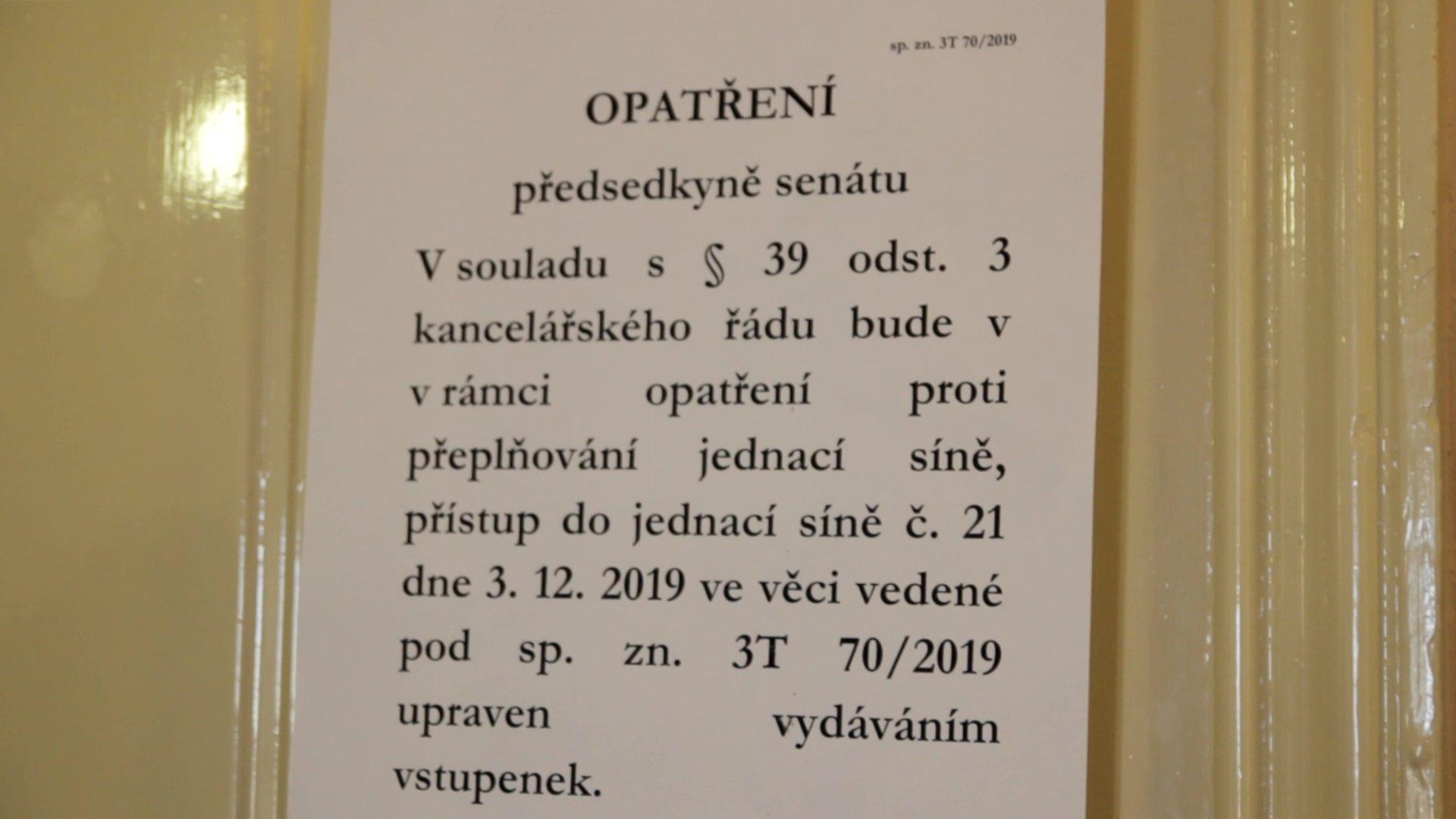 Opatření předsedkyně senátu
